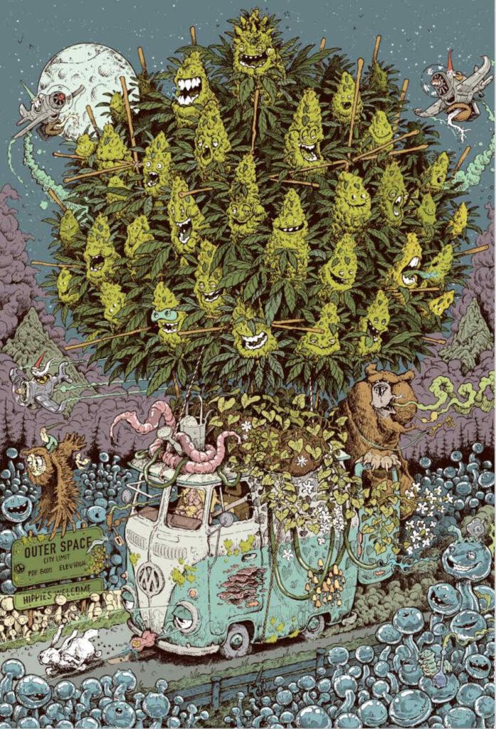 Mossy giant cannabis art