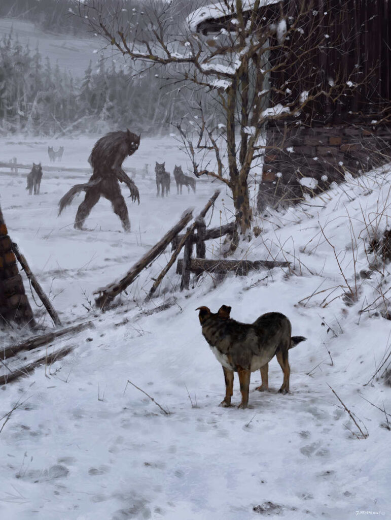 My Werewolf snow painting