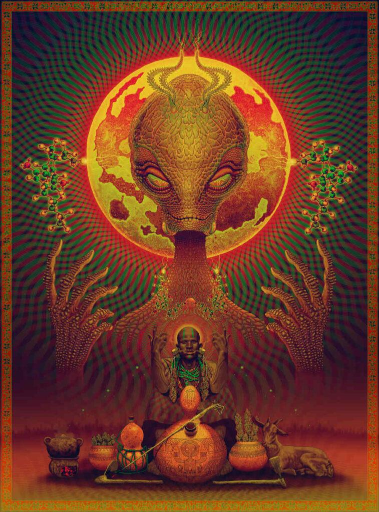 Rosenfeldtown orange alien digital art Natural Cannabis Company