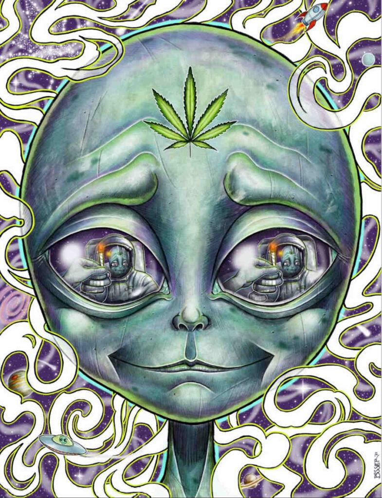 Steven Bossler cannabis alien portrait