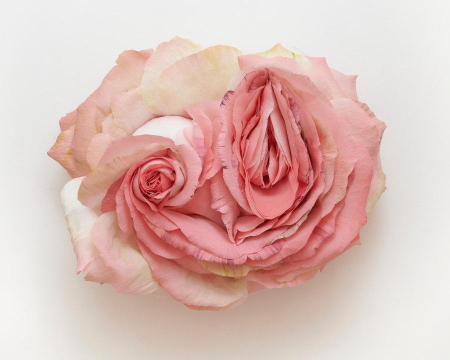 Tiffanie Turner mixed media pink rose sculpture