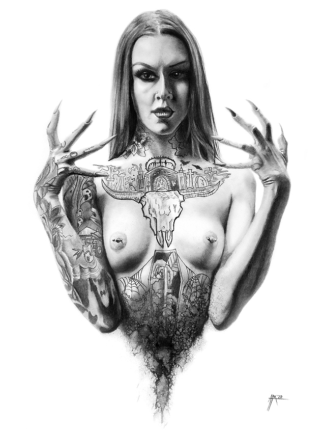 Adam McCarthy charcoal tattooed brunette woman