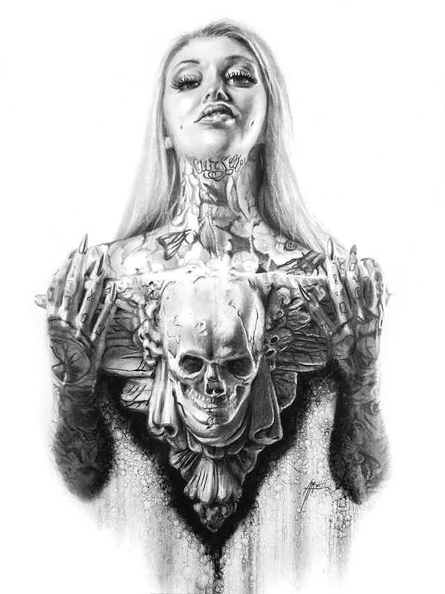 Adam McCarthy charcoal tattooed blonde woman