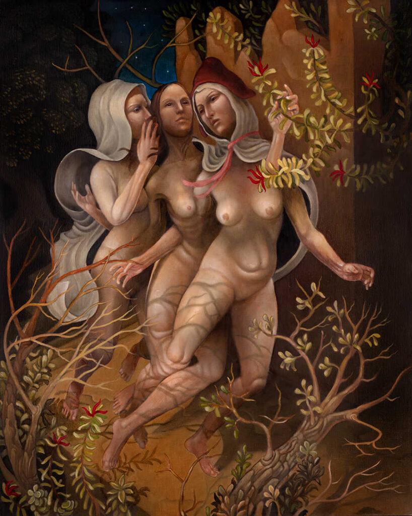 Alex Kuno three nude women painting