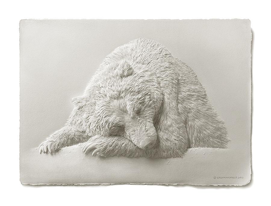 Calvin Nicholls paper art grizzly bear