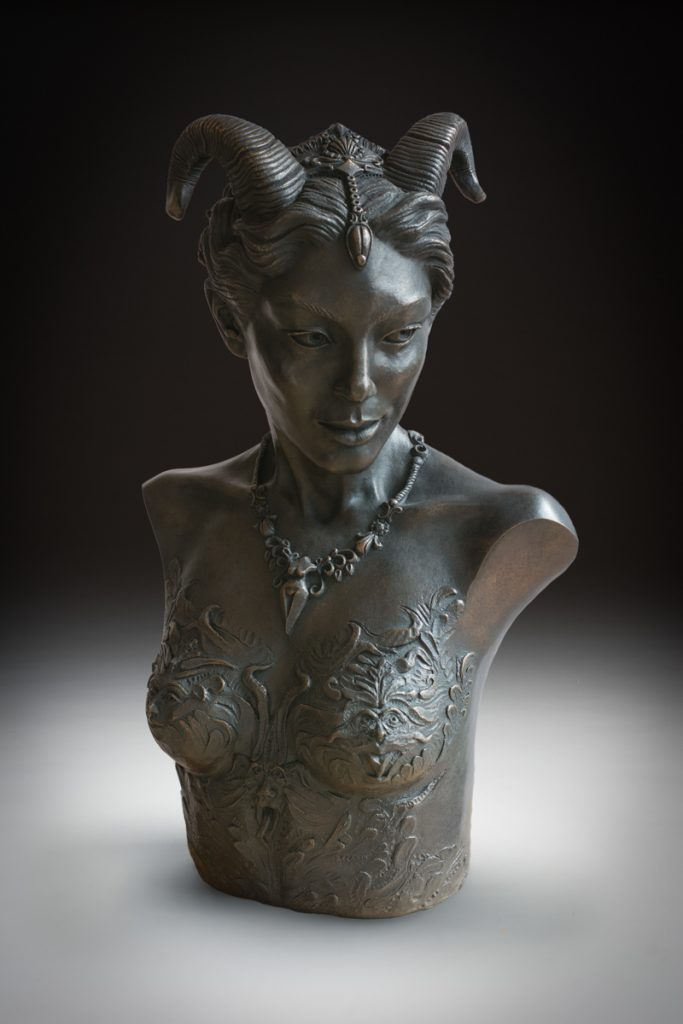 Kristine and Coline Poole fawn bust in brass
