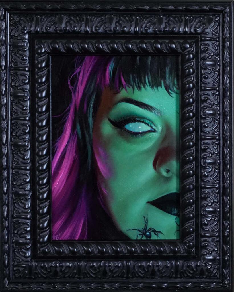 Rachael Bridge green pink portrait