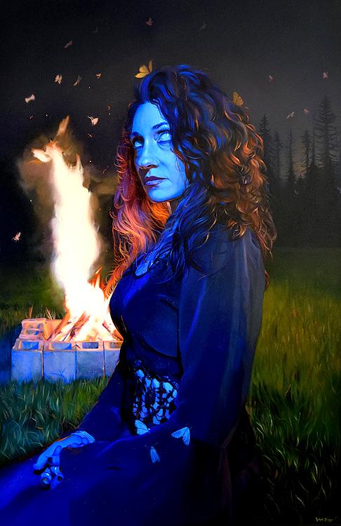 Rachael Bridge blue woman and fire