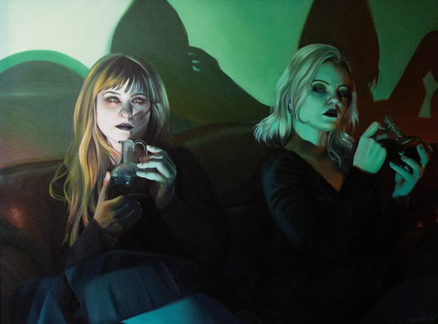 Rachael Bridge two woman with phones