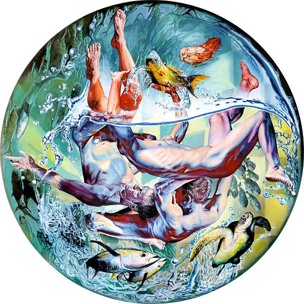 """T. Mallon, """"Fish Out of Water"""", Oil on wood panel"""
