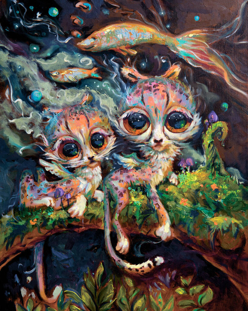 Zoya Koinash pop surreal cat painting