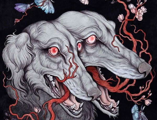 Caitlin Hackett - Borzoi - surreal watercolor painting hounds dogs