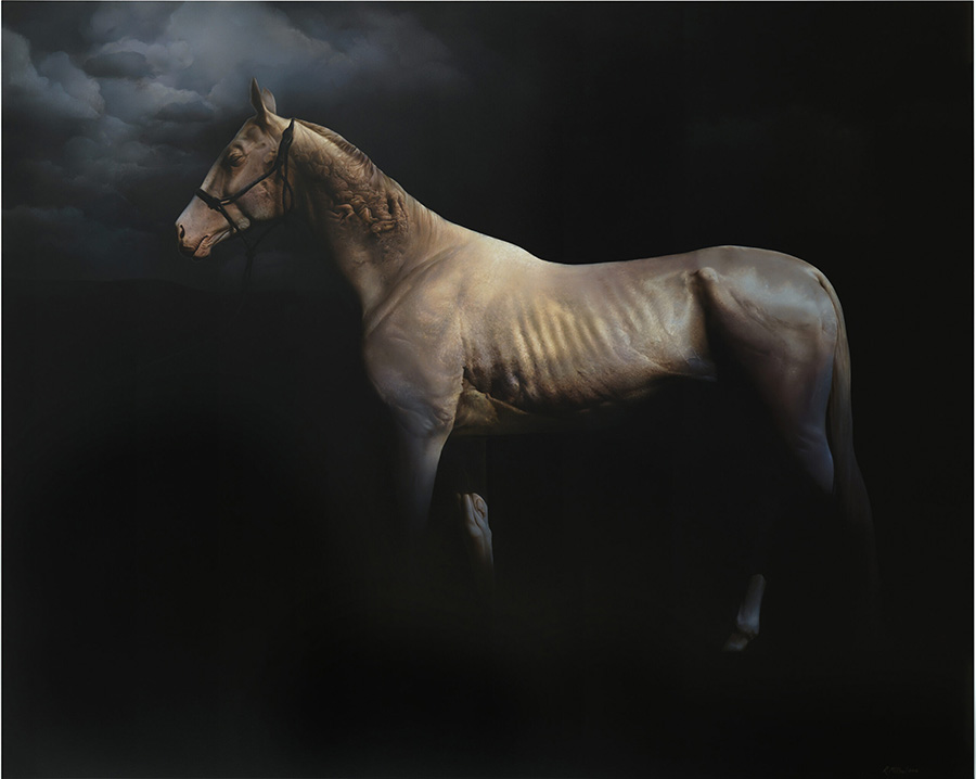 'Memory's Descent', Airbrushed Acrylic on Wood Panel by Roland Mikhai