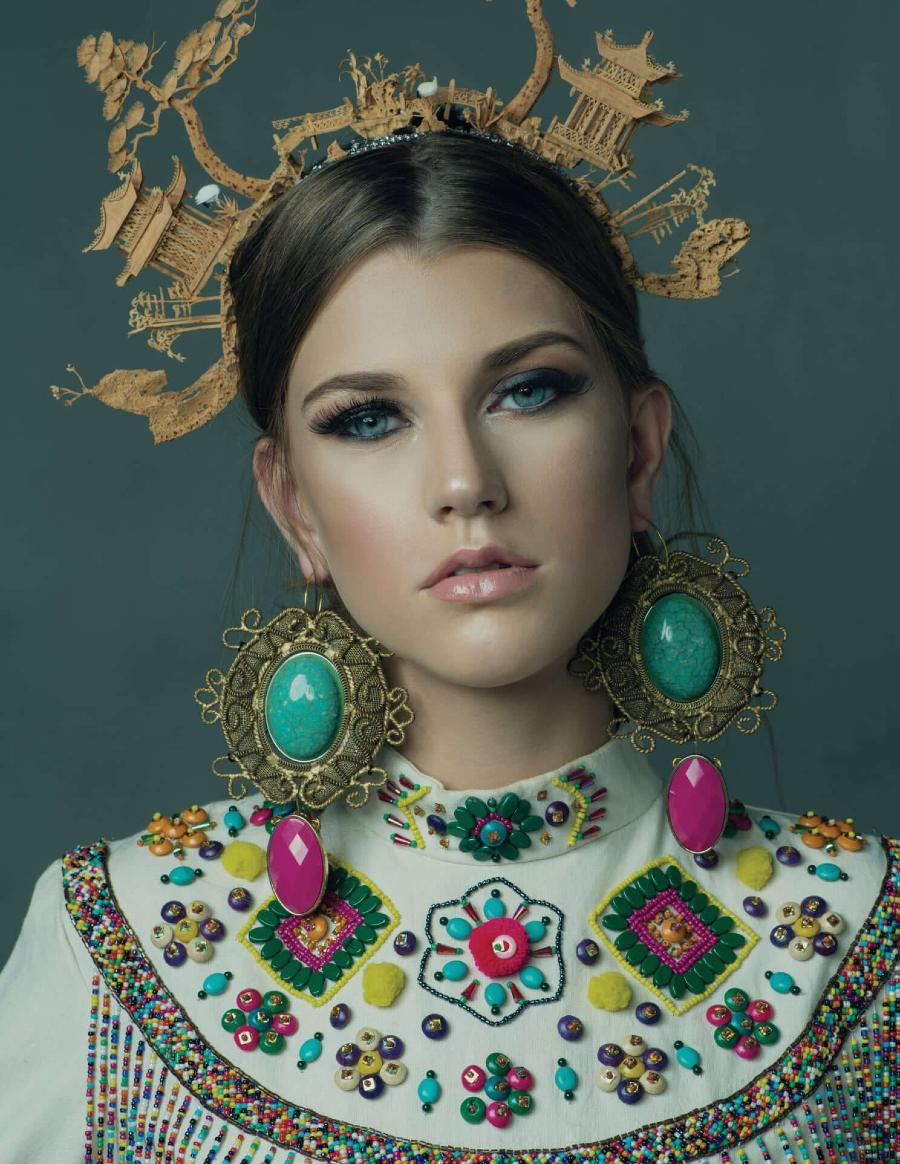 Bird-Skin-Headdress-Earrings-Beaded-Dress