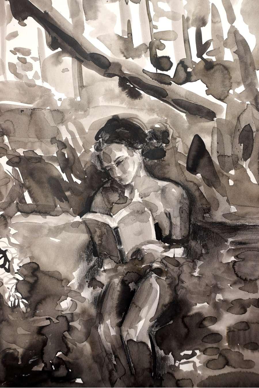 Ekaterina-Popova-Watercolor-Reading