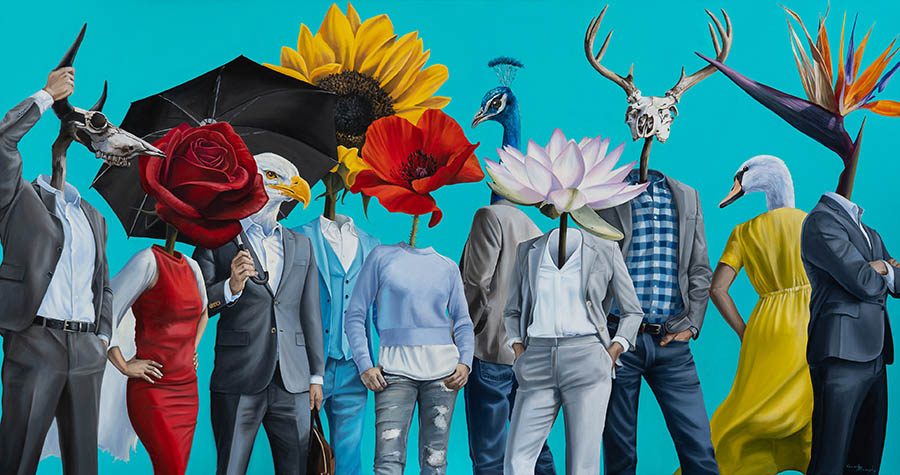 surreal figurative flower painting