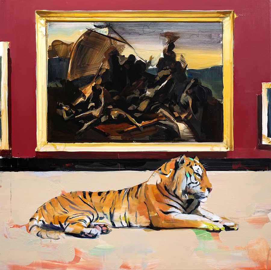 """Alpay Efe - painting Fine Art Connoisseur (The Raft of Medusa), 2021 Oil on wood panel, 16 x 16"""""""
