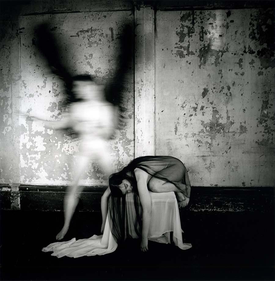 """Brittany Markert - analogue photograph 2021 Beautiful Bizarre Art Prize, 2nd Prize Winner, Photography Award   Meeting with Death V Self Portrait with Nicole Absher. Fiber-Based Gelatin Silver Print, 10 x 10"""", Edition 1/10"""
