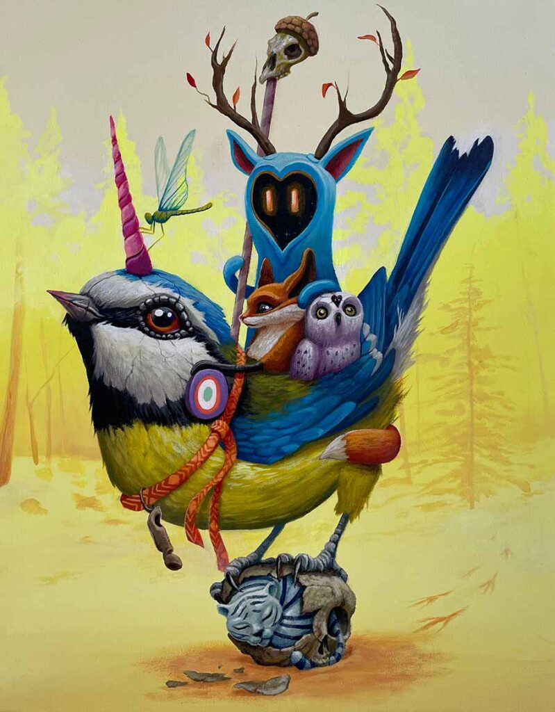 """DULK - painting The Forest Keeper, 2021 Acrylic on canvas, 13 x 16"""""""