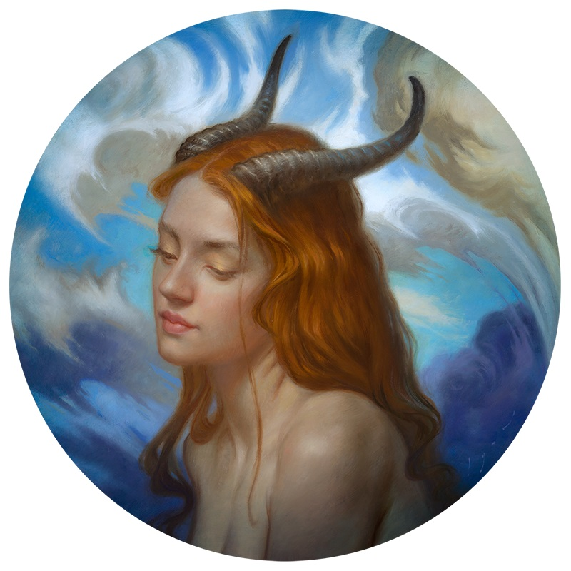 """Howard Lyon - painting A Young Satyress, 2021 Oil on wood panel, 12"""" round"""