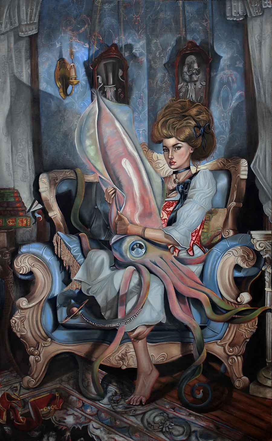 """Joseph Weinreb - painting Beyond the Pillars of Hercules, 2021 Oil on wood board, 26 1/2 x 16 1/4"""""""