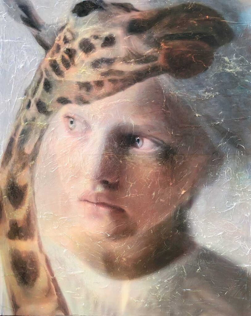 """Lavely Miller - painting 2021 Beautiful Bizarre Art Prize, 3rd Prize Winner, Traditional Art Award   Lindsay and a Giraffe, 2021 Acrylic on paper on canvas, 30 x 24"""""""