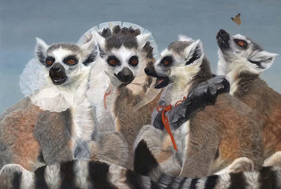 "Lesley Thiel - painting Gossip Girls, 2021 Oil on panel, 16.5 x 24.5"""