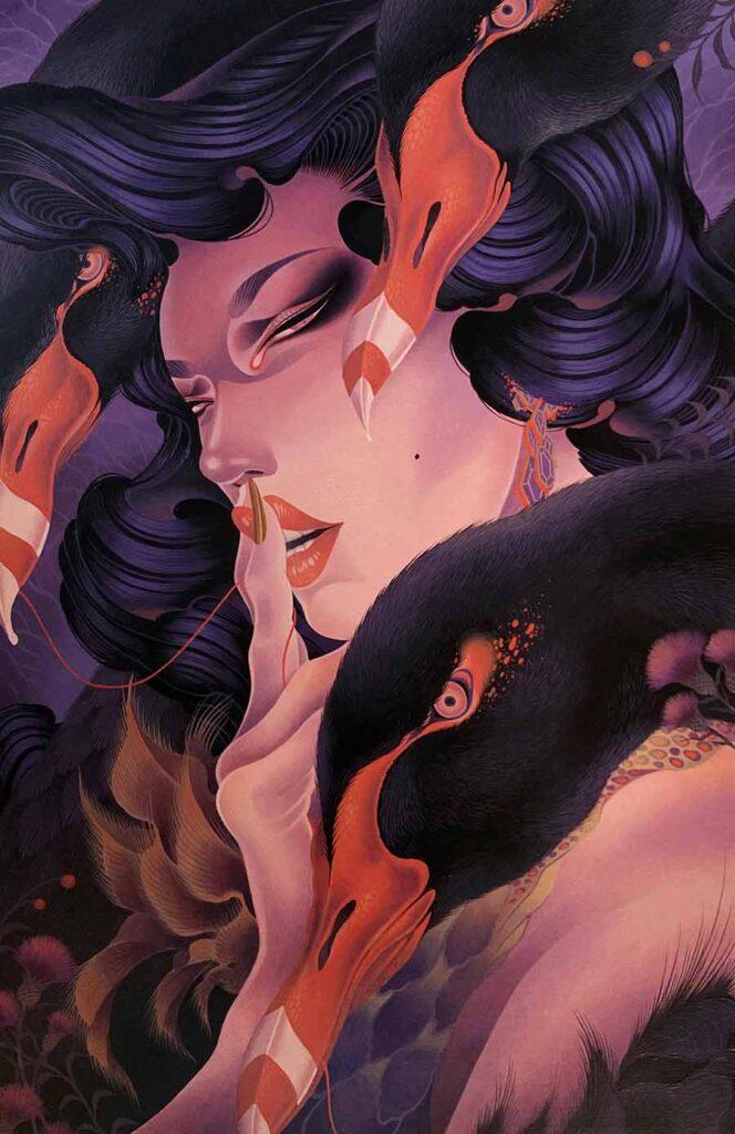 "ONEQ - painting Black Swan, 2021 Acrylic painting on wood panel, 19 × 29 × 0.7"""