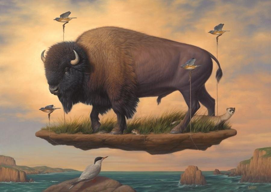 Phillip Singer surreal bison painting