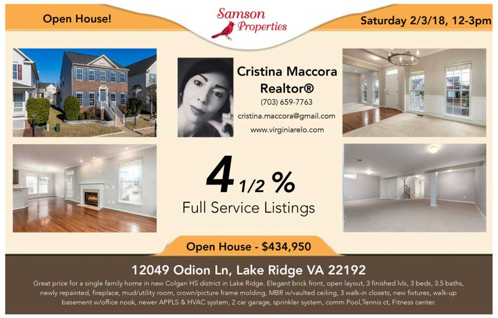 Open House - Free postcard to advertise your home for sale