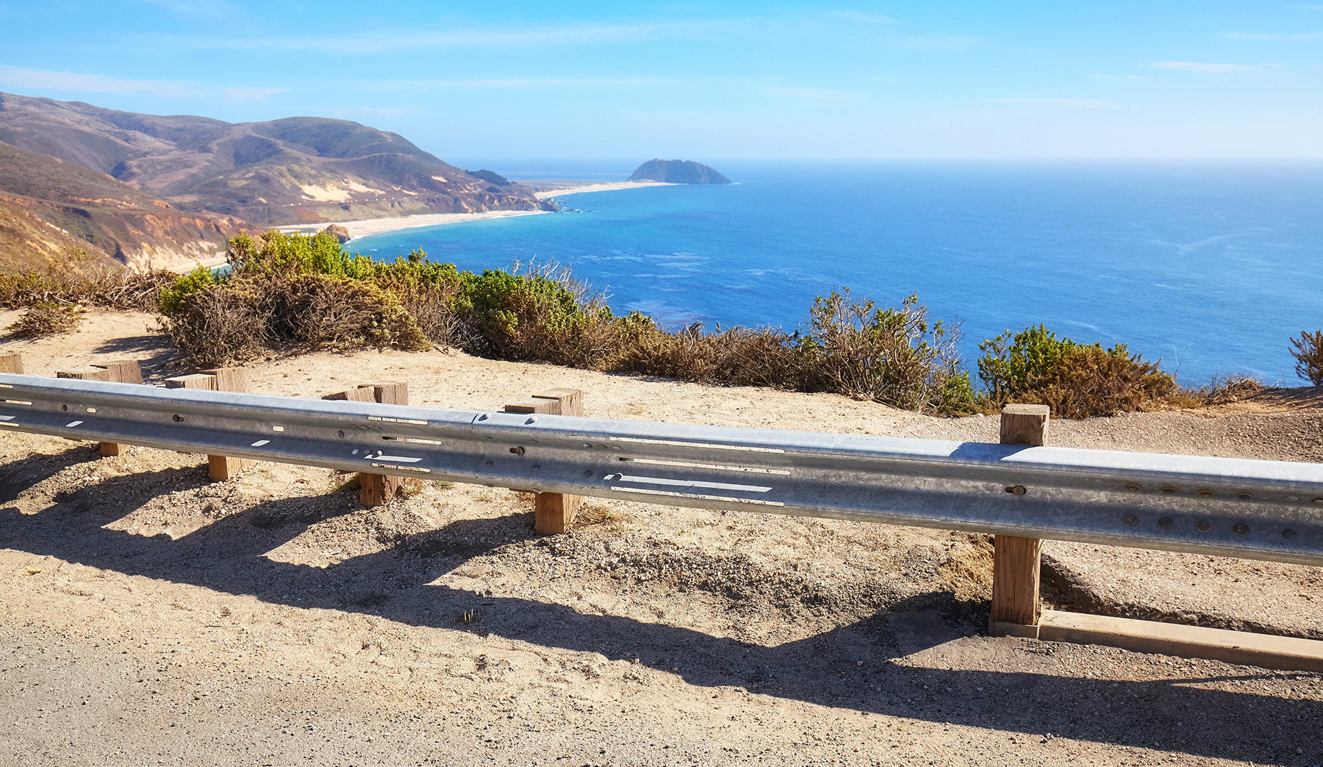 Traffic barrier along Pacific Coast Highway, selective focus, California, USA.