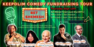 KeepOlim Comedy Fundraising Tour is coming to Bet Shemesh Thursday September 12th