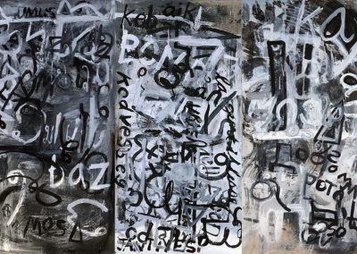 <b>Kindness, 2018 (triptych)</b><br/>Oil on panel<br/>6 ' x 4' or 4' x 6'  (horizontal or vertical; three 2' x 4' modular panels which can be arranged multiple ways)