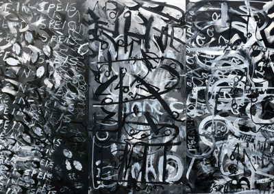 <b>Self-Mastery; Self-Esteem; Self-Discipline, 2018 (triptych)</b><br/>Guache, oil on panel<br/>6 ' x 4' (horizontal)