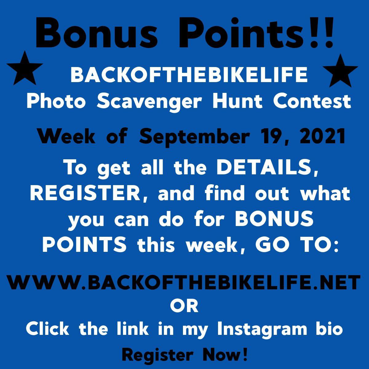 Bonus Points-Photo Scavenger Hunt Week of 9/19/2021