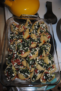 spinach stuffed pasta shells + 2012 election