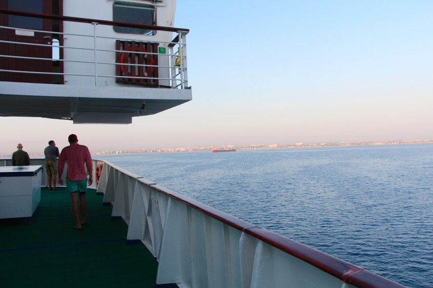 crossing to an italian port town: bari