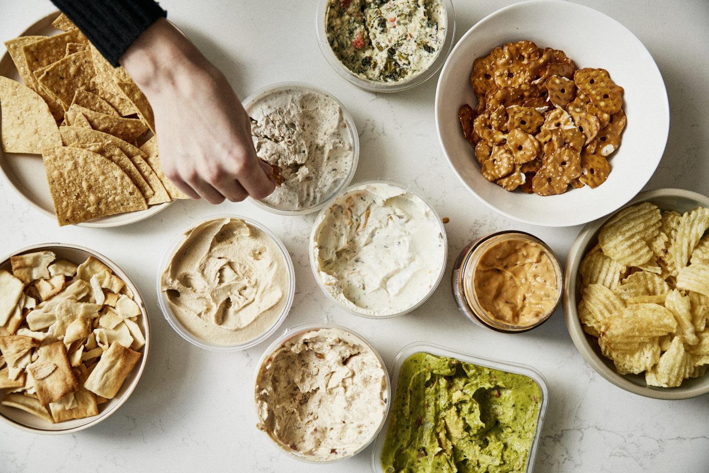 Homemade dips: Hummus, black bean dip, and pesto