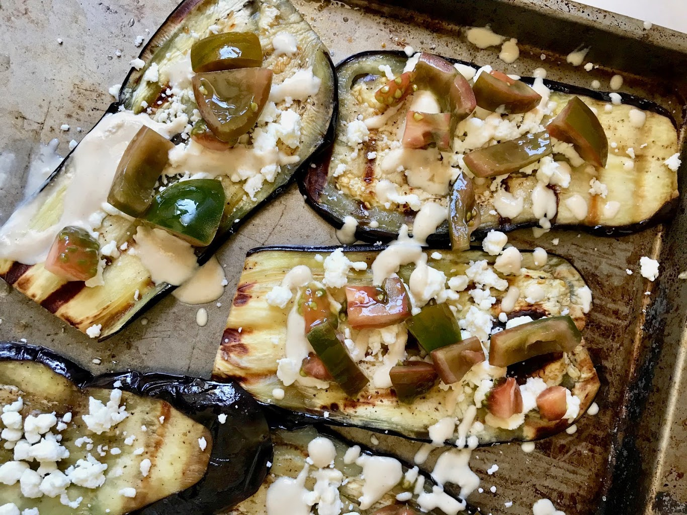 Grilled Eggplant with Tahini, Tomato and Feta