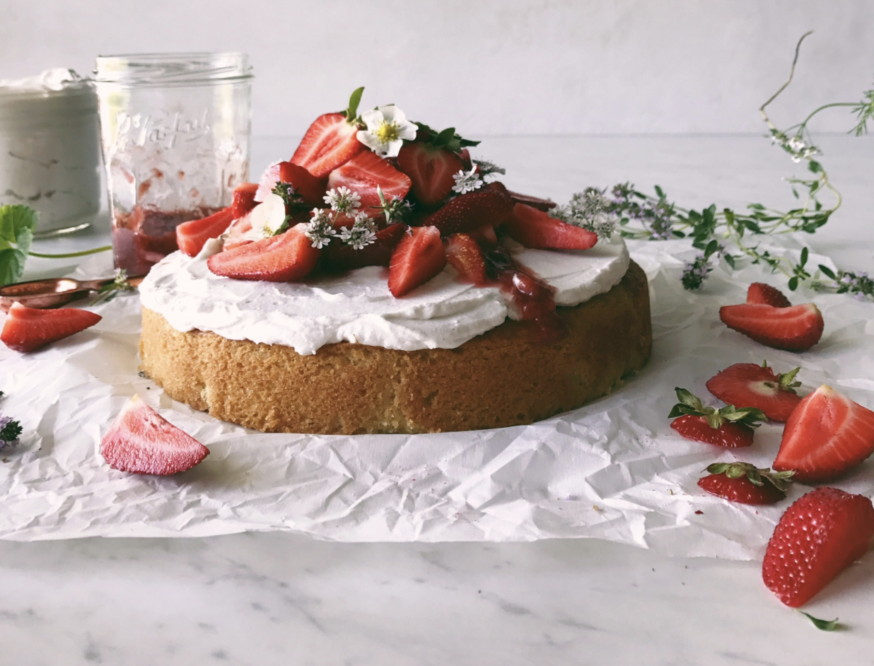 clean vanilla cake with coconut whipped cream