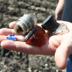 glass and blue willow articles found in plowed field st mary cemetery