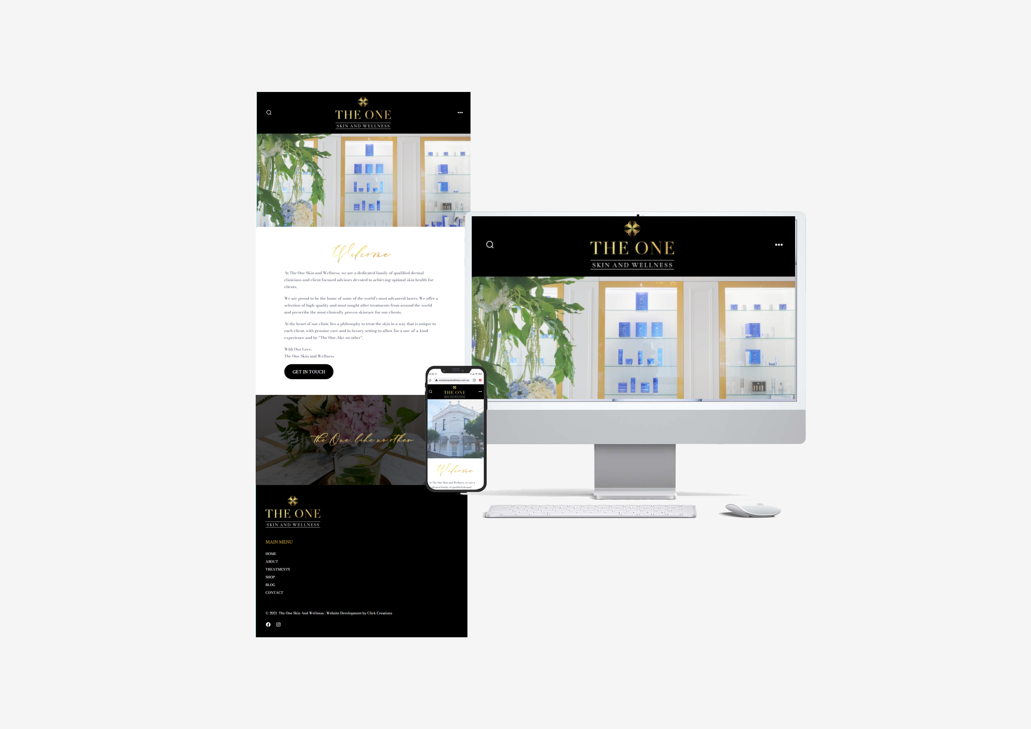 The One Skin & Wellness Website Sample Click Creations