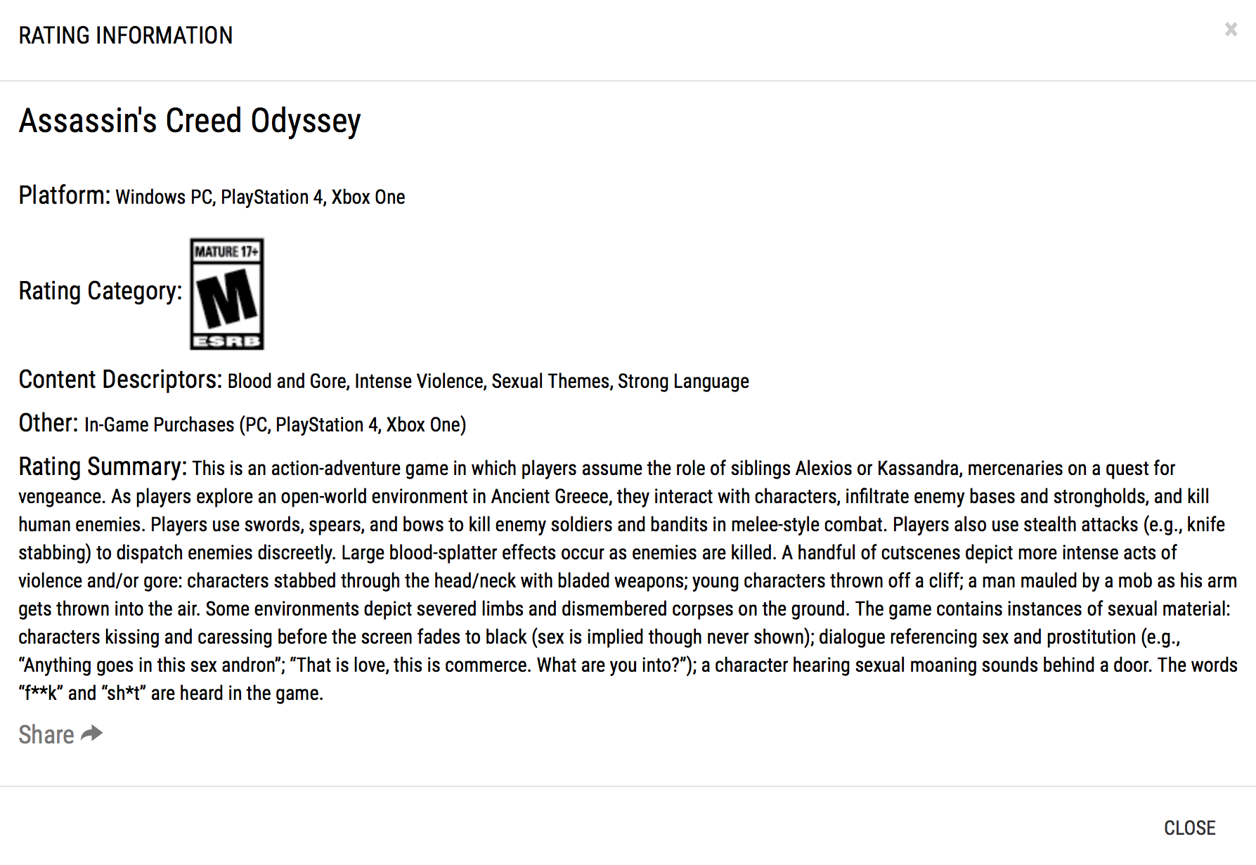 Codex Assassin S Creed Odyssey Esrb Ratings Revealed