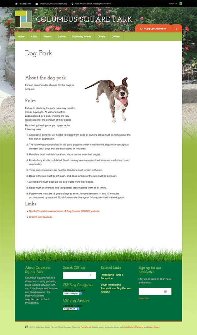 Local Community Park Website
