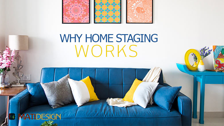 Why Does Home Staging Work? | A staged living room rich in blues | MatiDesign Interior Decorating And Home Staging London Ontario
