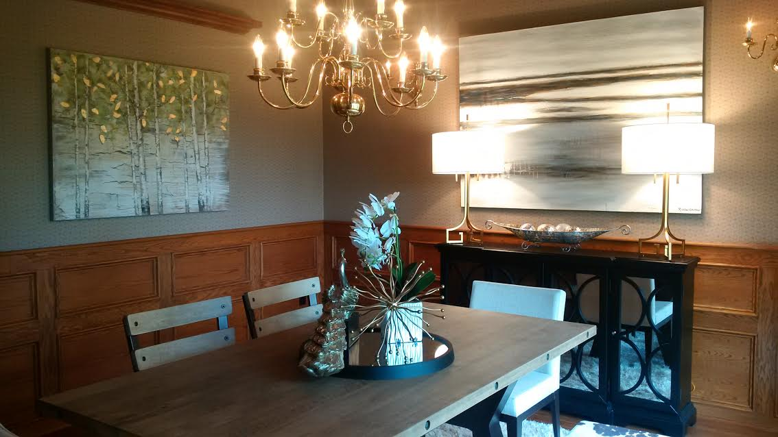 Why Does Home Staging Work? | dining room after staging, different angle | MatiDesign Interior Decorating And Home Staging London Ontario