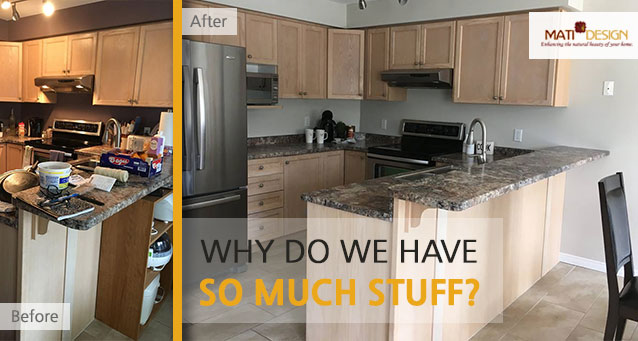 Why Do We Have So Much Stuff | A staged living room rich in blues | MatiDesign Interior Decorating And Home Staging London Ontario