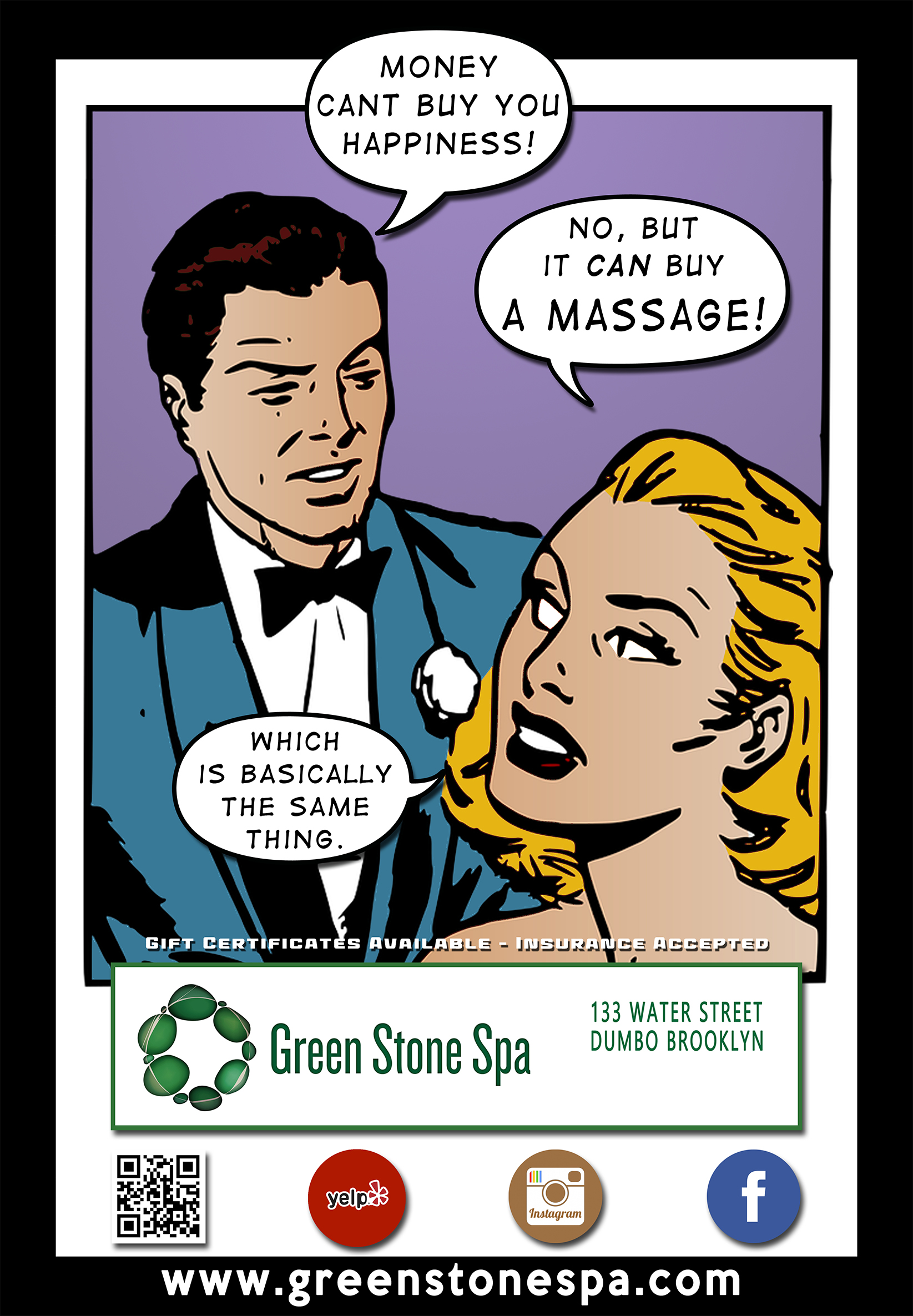 Street Sign Poster for Green Stone Spa in Dumbo Brooklyn