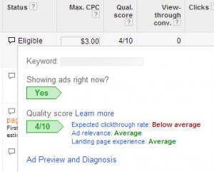 AdWords Keyword Status
