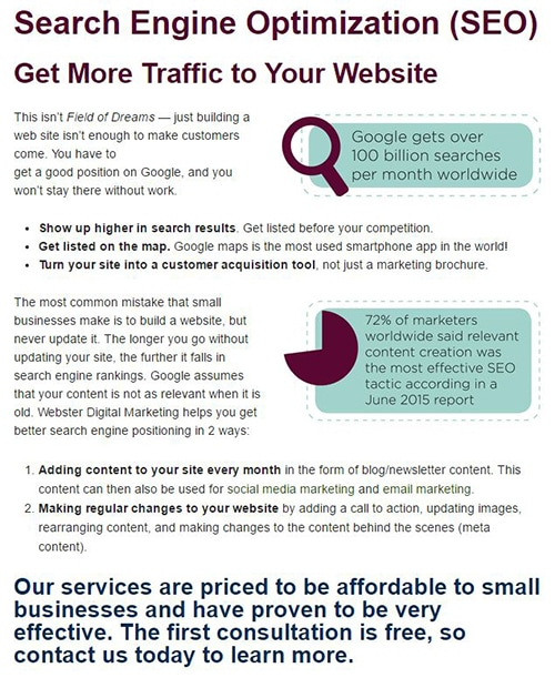 Website content optimized for users